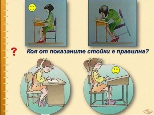 Нека на детето да не му бъде нито високо, нито ниско, за да не се прегъва, а да държи гърба си изправен